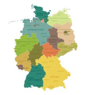 Karte von Deutschland auf der die Bundesländer eingezeichnet sind