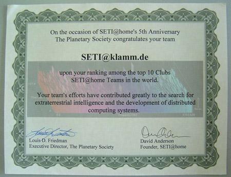 SETI@klamm.de unter den weltweiten Top10