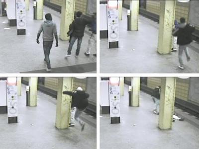 Bildkombo mit Video-Aufnahmen einer Überwachungskamera im U-Bahnhof in Berlin-Lichtenberg vom 11. Februar. Foto: Polizei-Video