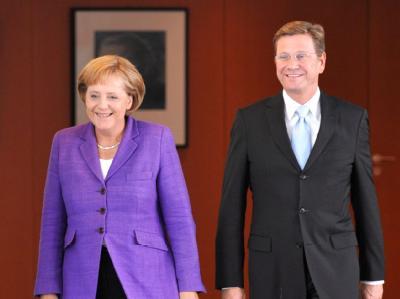 Kanzlerin und CDU-Chefin Merkel und der FDP-Vorsitzende Westerwelle.