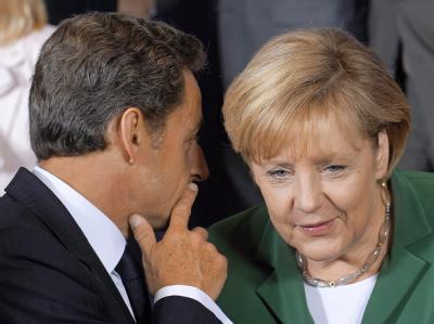 Nicolas Sarkozy und Angela Merkel während des turbulenten EU-Sondergipfels in Brüssel.