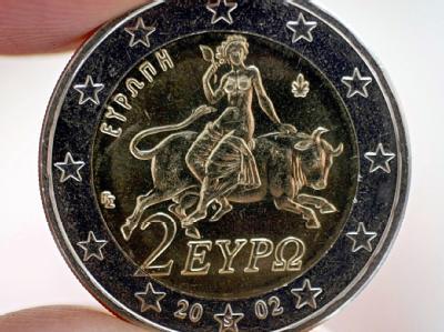 Europa auf dem Stier: Die Rückseite der griechischen 2-Euromünze.