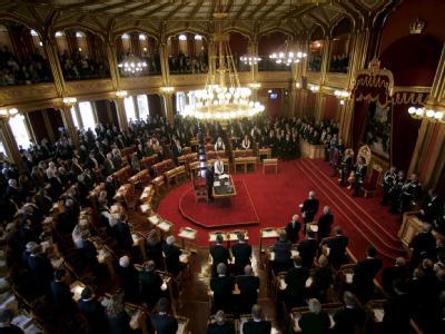 Blick in eine Sitzung des Storting, des norwegischen Parlaments.