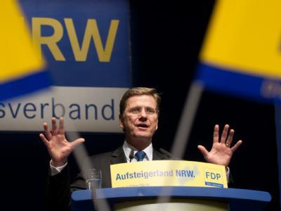 FDP-Chef Guido Westerwelle Mitte März auf dem Landesparteitag der nordrhein-westfälischen FDP.