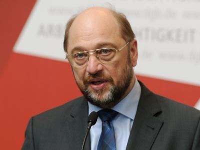 EU-Parlamentspräsident Martin Schulz während einer Pressekonferenz in Berlin. Foto: Soeren Stache