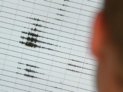 Ein Mann betrachtet ein Seismogramm eines Erdbeben. (Archivbild)