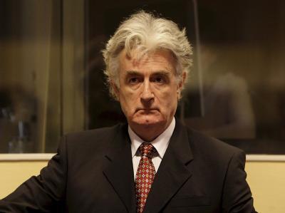 Radovan Karadzic als Angeklagter vor dem UN-Kriegsverbrechertribunal in Den Haag. (Archivfoto)