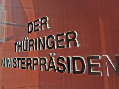 Die Thüringer Staatskanzlei, Amtssitz des Ministerpräsidenten, in Erfurt.