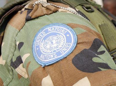 Ärmelabzeichen eines UN-Soldaten der Schutztruppe Monuc im Kongo.