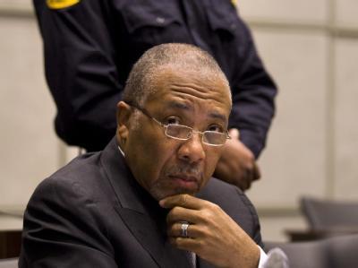 Der liberianische Ex-Diktator Charles Taylor im Gerichtssaal. Foto: Jerry Lampen/Archiv