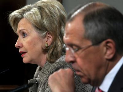 US-Außenministerin Clinton vergangene Woche zusammen mit ihrem russischen Amtskollegen Lawrow.