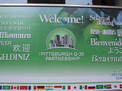 Vorbereitung für den G20-Gipfel: Ein Willkommensschild in Pittsburgh.