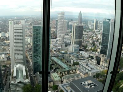 Blick auf die Frankfurter Bankenskyline.