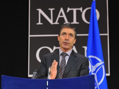 NATO-Generalsekretär Rasmussen am Mittwoch während einer Pressekonferenz in Brüssel.