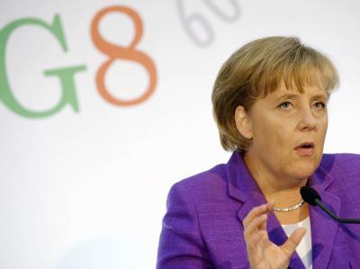 Kanzlerin Merkel während einer Pressekonferenz beim G8-Gipfel.