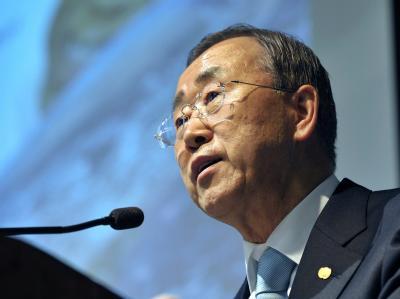 UN-Generalsekretär Ban Ki Moon ruft dazu auf, der Lösung des Nahostkonflikts durch eine Zwei-Staaten-Lösung Priorität einzuräumen.