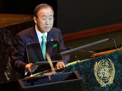 UN-Generalsekretär Ban Ki Moon während seiner Rede vor dem UN-Klimagipfel in New York.