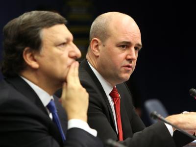 EU-Kommissionspräsident Barroso und Schwedens Regierungschef Reinfeldt bei einer Pressekonferenz in Brüssel.