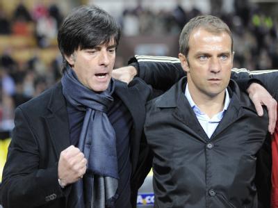 Bundestrainer Joachim Löw und sein Assistent Hansi Flick.