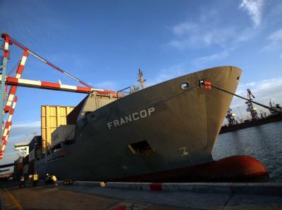 Die «Francop» im Hafen von Aschdod.