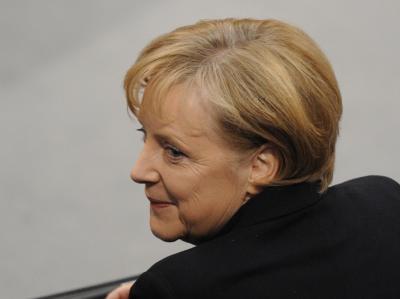 Angela Merkel am Mittwoch kurz vor ihrer Wiederwahl zur Kanzlerin.