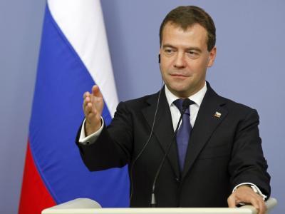 Russlands Präsident Medwedew während einer Pressekonferenz Mitte Mai.
