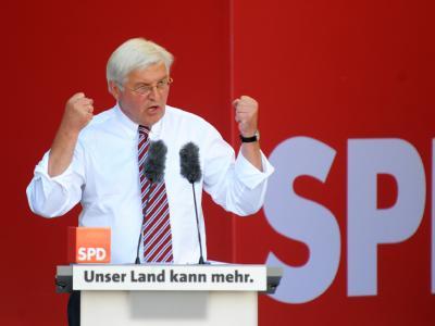 Frank-Walter Steinmeier während der Wahlkampfveranstaltung in Dresden.