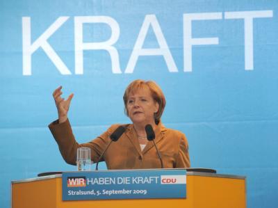 Bundeskanzlerin Angela Merkel am Samstag bei einem Wahlkampfauftritt in Stralsund.