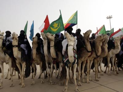 Ausgestattet mit den Fahnen arabischer Länder erwarten Kamelreiter die Gäste des Gipfels