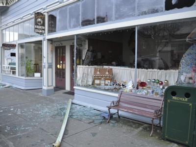 Zerstörte Glasfront