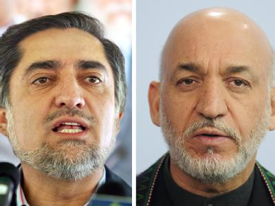 Der Präsident Afghanistans, Hamid Karsai und sein Herausforderer Abdullah Abdullah: Karsai hat die absolute Mehrheit bei der Wahl offenbar verfehlt.