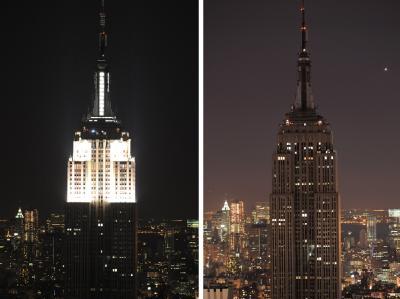 Das Empire State Building, das höchste Gebäude New Yorks, in wechselnder Beleuchtung.