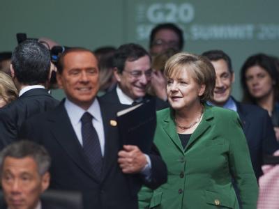 Kanzlerin Merkel inmitten der Staats- und Regierungschefs der anderen G20-Staaten.