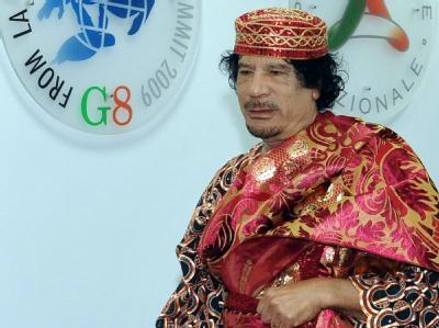 Der libysche Revolutionsführer Muammar al-Gaddafi auf dem G8-Gipfel.