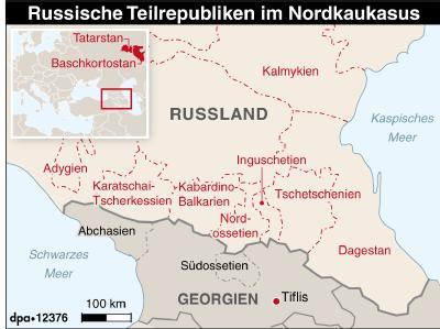 Russische Teilrepubliken in der Region Nordkaukasus.