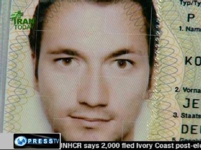 TV-Bild aus dem iranischen Fernsehen mit dem Passfoto eines der festgenommenen Reporter aus Deutschland.