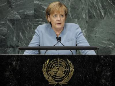 Angela Merkel spricht am 21. September 2010 vor dem UN-Millenniumsgipfel in New York.