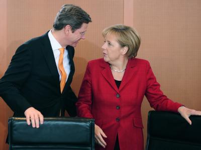 Schwarz-Gelb im Umfragetief: Außenminister Guido Westerwelle und Kanzlerin Angela Merkel.