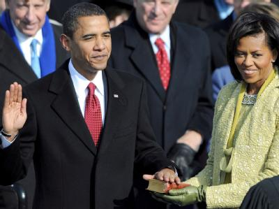 Barack Obama bei seiner Vereidigung als 44. US-Präsident am 20.01.2009 in Washington. (Archivbild)