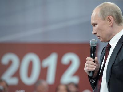 Wladimir Putin bei einer Wahlveranstaltung. Foto: Alexey Druginyn, Ria Novosti, Government Press Service