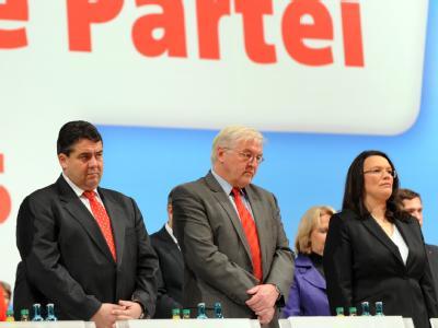 Das neue Führungstrio der SPD: Gabriel, Steinmeier und Nahles.