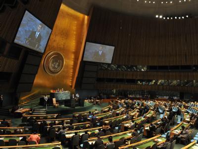 Blick auf eine Sitzung der UN-Vollversammlung. Foto: Jason Szenes / Archiv