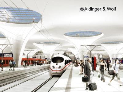 Wahlkampfthema Stuttgart 21: Das Bild zeigt den geplanten neuen Stuttgarter Hauptbahnhof, der vom Düsseldorfer Architekten Christoph Ingenhoven entworfen wurde. Die Visualisierung stammt von Aldinger & Wolf. Das Stuttgarter Unternehmen hat sich darauf