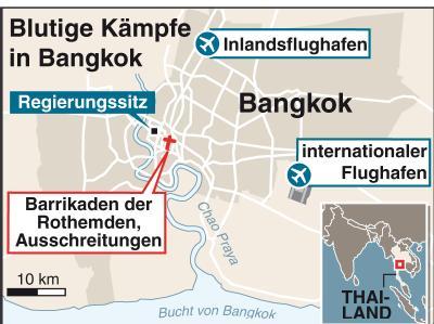 Grafik zu den Brennpunkten des Konflikts in Bangkok.