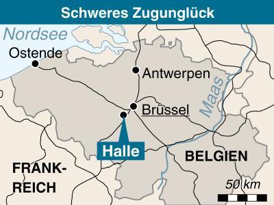 Zwischen den Bahnhöfen Buizingen und Halle am südwestlichen Brüsseler Stadtrand ereignete sich das Unglück bei Schneetreiben.