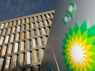 Das BP-Logo vor dem deutschen Hauptquartier in Bochum.