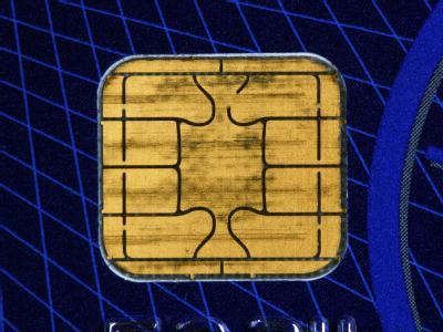 Ein Speicherchip auf einer Kreditkarte.