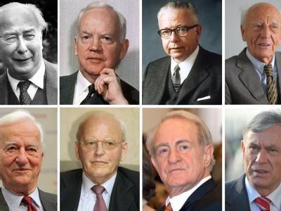 Die ehemaligen Bundespräsidenten (l-r, o-u) Theodor Heuss, Heinrich Lübke, Gustav Heinemann, Walter Scheel, Richard von Weizsäcker, Roman Herzog, Johannes Rau und Horst Köhler. Fotos: dpa