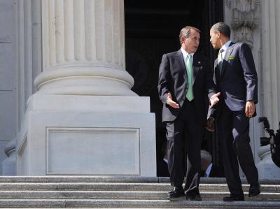 Der republikanische Präsident des US-Abgeordnetenhauses, John Boehner (l), und US-Präsident Barack Obama.