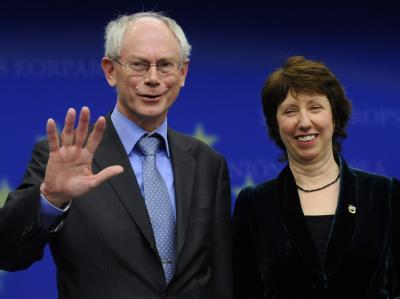 Der ständige EU-Ratspräsident Herman Van Rompuy und die EU-Außenbeauftragte Catherine Ashton in Brüssel. (Archivbild)